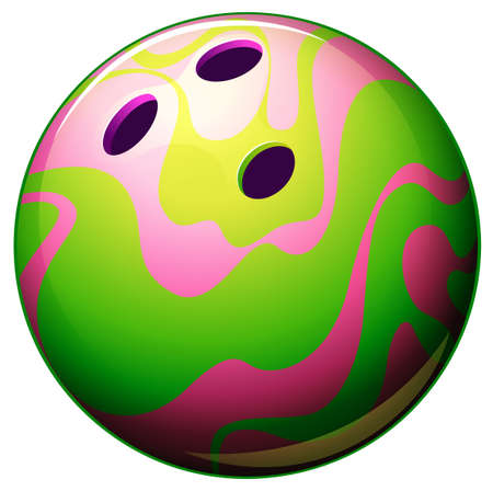 drilled: Illustration of a bowling ball on a white background