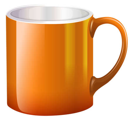 stoneware: Illustration of a big orange mug on a white background