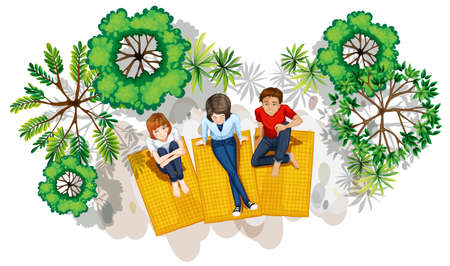 tree top view: Illustration of a topview of the people at the park on a white background