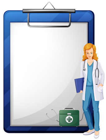 documentation: Illustration of a doctor with a chart on a white background Illustration