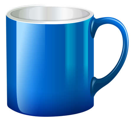 earthenware: Illustration of a big blue mug on a white background Illustration