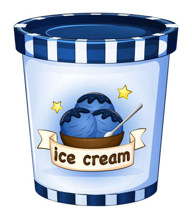 Illustration of a cup of ice cream on a white background