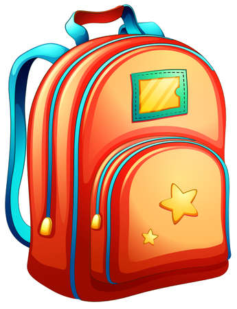 Illustration of an orange schoolbag on a white background Illustration