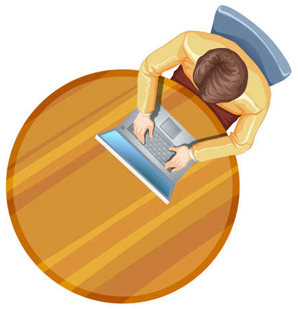 table top: Illustration of a topview of a man using his laptop above the table on a white background