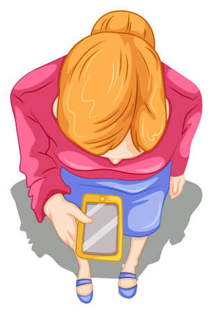 Illustration of a topview of a girl using a cellphone on a white background