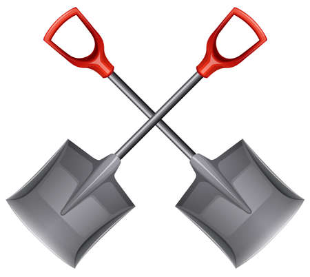 fiberglass handle: Illustration of the two shovels on a white background Illustration