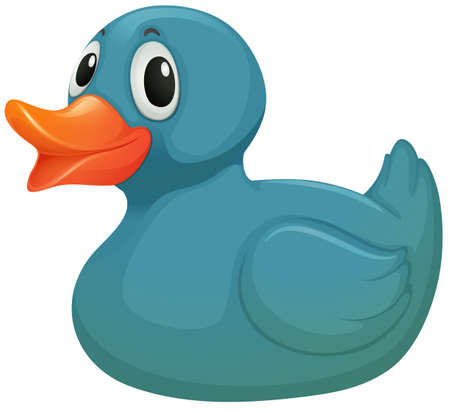 Illustration of a light blue rubber duckie on a white background Vector
