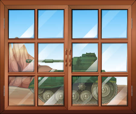 opened eye: Illustration of a closed window with a view of the military tanker outdoor