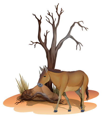 subspecies: Illustration of a horse beside the tree on a white background