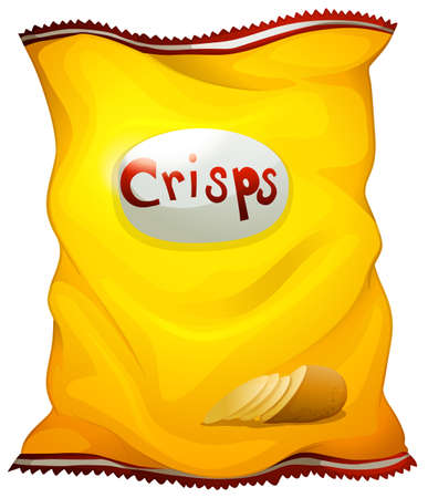 labelling: Illustration of a pack of crisps on a white background Illustration