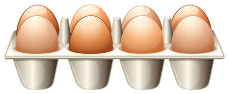 laying egg: Illustration of a tray with eggs on a white background Illustration