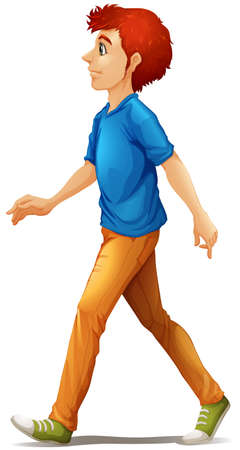 tall man: Illustration of a tall man walking on a white background