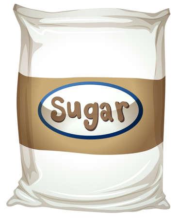 blisters: Illustrazione di un pacchetto di zucchero su uno sfondo bianco