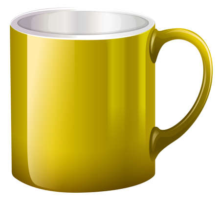 earthenware: Illustration of a big yellow mug on a white background Illustration