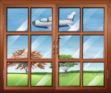 opened eye: Illustration of a window with a view of the airplane outside