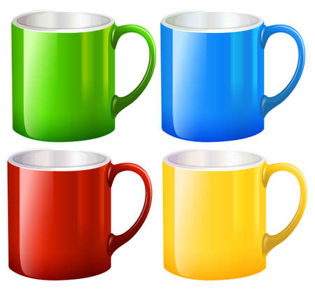 earthenware: Illustration of the sets of big mugs on a white background Illustration