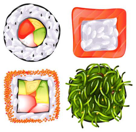 reis gekocht: Illustration der Draufsicht der verschiedenen japanischen Lebensmitteln auf wei�em Hintergrund