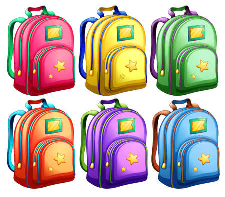 Illustration of a set of backpacks on a white background Vector