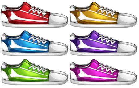 Illustration of the sets of shoes on a white background Vector