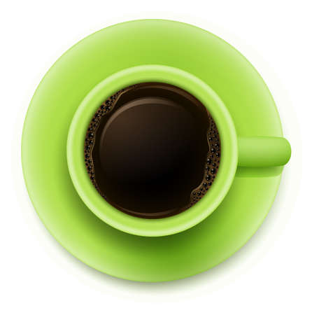 stimulant: Illustration of a topview of a green cup with coffee on a white background