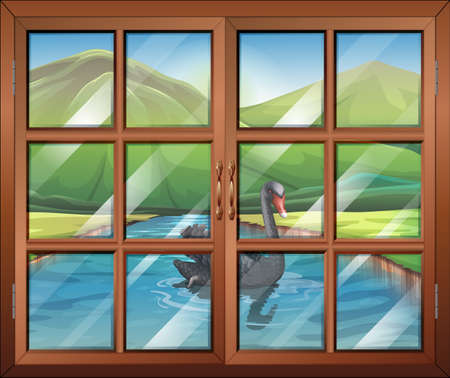 Illustration of a window with a view of the river outside Vector