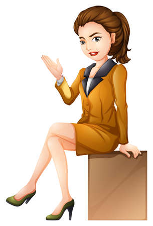 sitting down: Illustration of a businesswoman sitting down on a white background