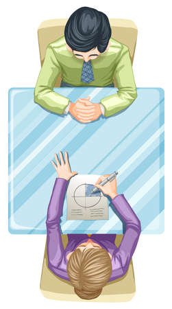 Illustration of a topview of two people at the table on a white background