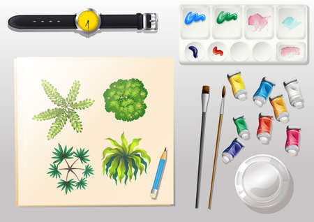 particulate: Illustration of a topview of the materials for painting and a watch Illustration
