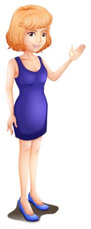 sleeveless: Illustration of a woman wearing a blue sleeveless dress on a white background Illustration