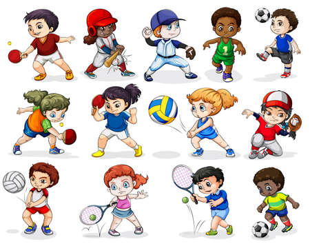 Illustration of the kids engaging in different sports activities on a white background Vector