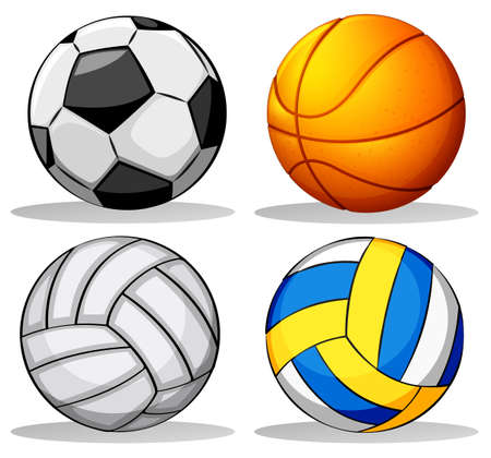 Illustration of the different balls used in sports on a white background Vector