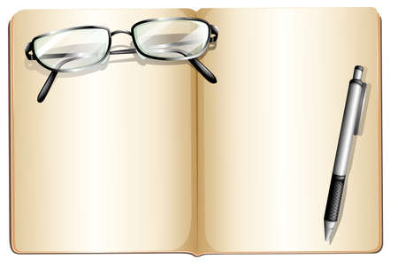 writing on glass: Illustration of an empty book with an eyeglass and a ballpen on a white background