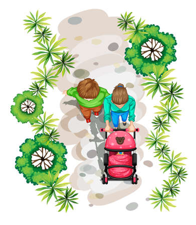 top: Illustration of a topview of a family strolling at the park on a white background