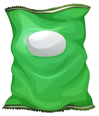 Illustration of a green bag with an empty label on a white background Stock Vector - 29598284