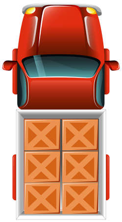 Illustration of a topview of a delivery truck with tiles on a white background Illustration