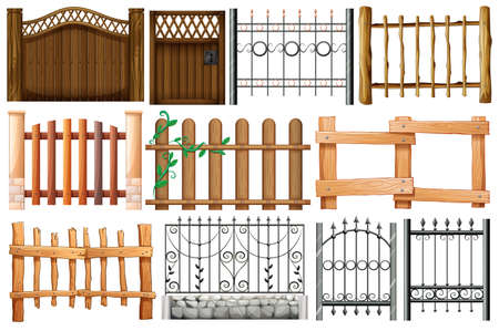 Illustration of the different designs of fences and gates on a white background Ilustrace