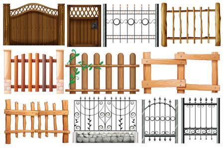 dřevěný: Ilustrace různých návrhů plotů a bran na bílém pozadí