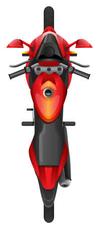 Illustration of a topview of a motor bike on a white background