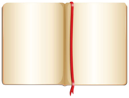 bookmark ribbon: Illustration of a topview of an empty notebook on a white background