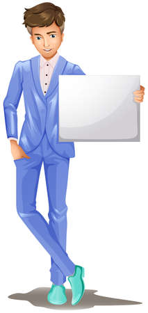 formal attire: Illustration of a man in a formal attire holding an empty signboard on a white background Illustration