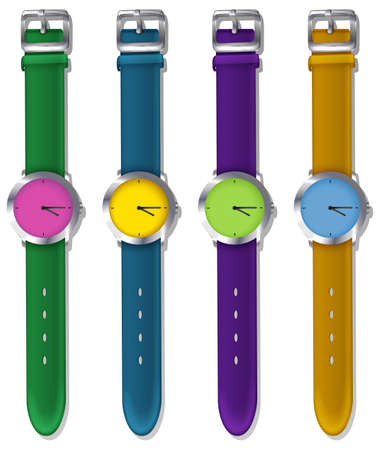 pulses: Illustration of the designer watches on a white background Illustration