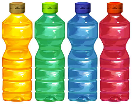 juice bottle: Illustration of the four water bottles on a white background