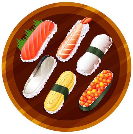 reis gekocht: Illustration einer Draufsicht auf die verschiedenen Geschmacksrichtungen von Sushi auf einem wei�en Hintergrund