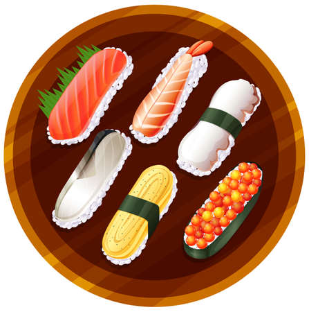 brown rice: Illustration of a topview of the different flavors of sushi on a white background Illustration