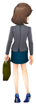 backview: Illustration of a backview of a businesswoman on a white background