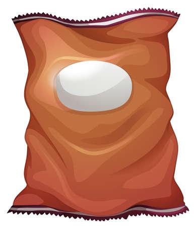 blisters: Illustrazione di un sacchetto marrone con un'etichetta vuota su uno sfondo bianco
