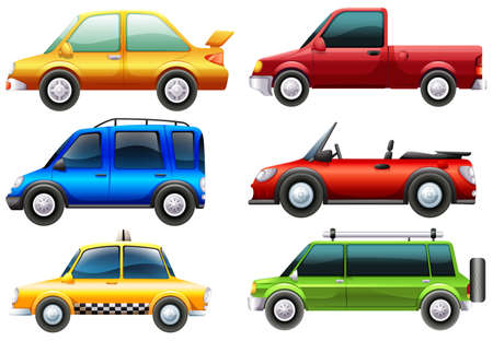 cars on road: Illustration of the different types of cars on a white background