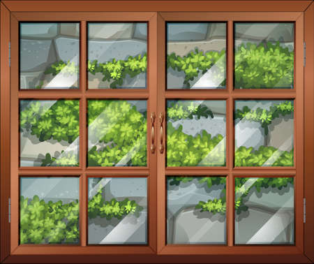Illustration of a closed window with a view of the plants and the stonewall
