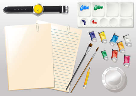 Illustration of the empty papers, a watch and the different materials for painting Stock Vector - 29598395