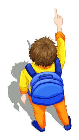 Illustratie van een bovenaanzicht van een jongen met een blauwe rugzak op een witte achtergrond